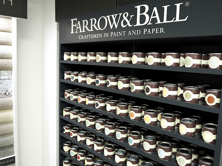 Farrow & Ball sample pots at Premier Flooring